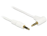 Delock Cable Stereo Jack 3.5 mm 4 pin male > male angled 5 m white Gold-plated - Optiwire.ie