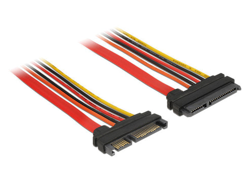 Delock Extension cable SATA 6 Gb/s 22 pin plug > SATA 22 pin receptacle (3.3 V + 5 V + 12 V) 10 cm - Optiwire - 1