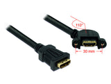 Delock Cable HDMI A female > HDMI A female panel-mount 110°angled 25 cm #4-40UNC - Optiwire.ie