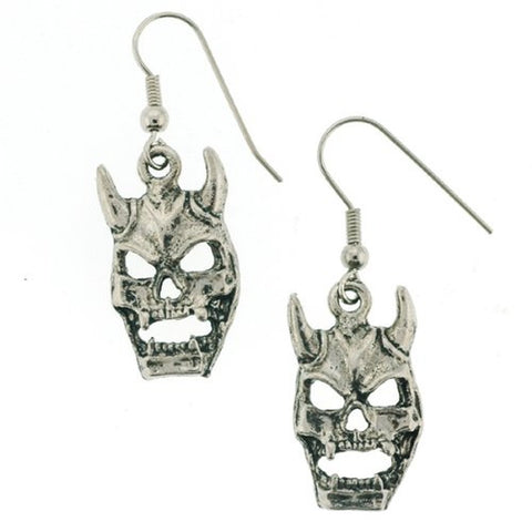 "Devil Skull Dangle Earrings - 1.5"" Length"