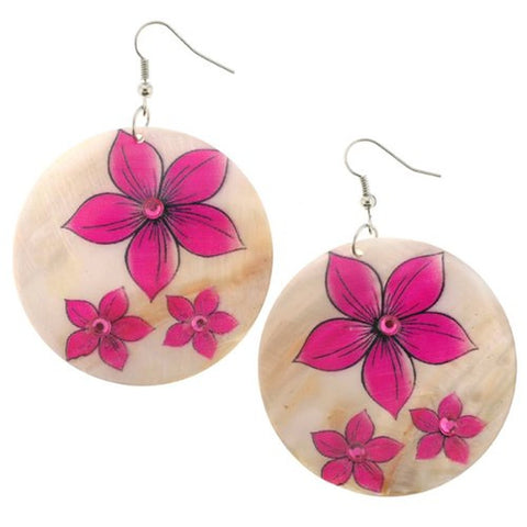 Fuchsia Flower Print Shell Earrings - 50mm Diameter