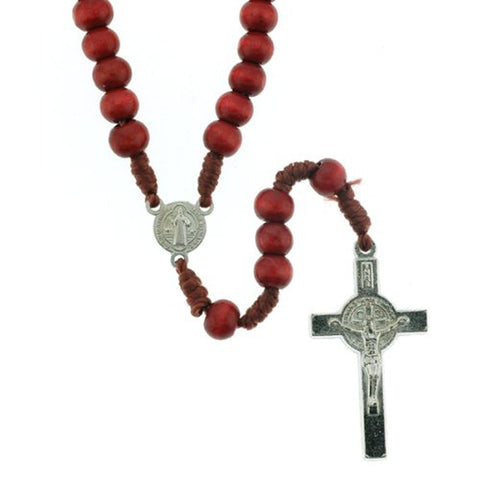 Saint Benedict Red Wood Rosary with 5mm Beads and Clasp - 17'' Necklace, 13'' Overall