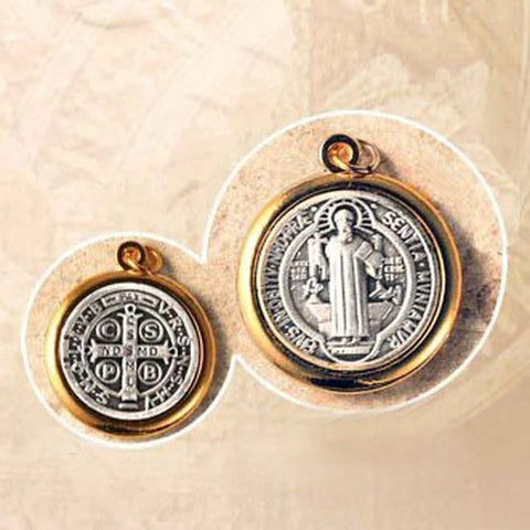 "Double Sided Round Oxidized Saint Benedict Medal in a Gold Tone Bezel Mount - 3/4"" Height - Made in Italy"