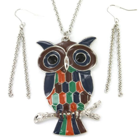 Colorful Owl Pendant Necklace in Silver Tone with Dual Chain Dangle Earrings - 2.75x1.75'' Pendant, 30'' Chain Necklace