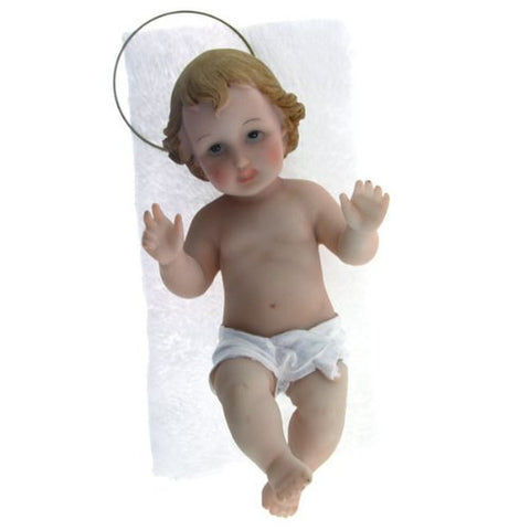"Baby Jesus with Removable Halo in Crib - 5"" - Free Medal Incl."