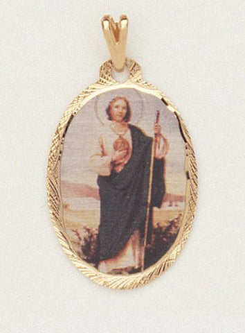 14 Kt Gold Layered Medal - St. Jude - Oval - Hand Made - Ready for Engraving - Individually Boxed