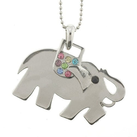 "Elephant Pendant with 1.2mm Ball Chain 16 to 18"" Adjustable Necklace"