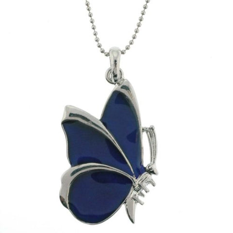 "Butterfly Mood Pendant with 1.2mm Ball Chain - 16 to 18"" Adjustable Necklace"