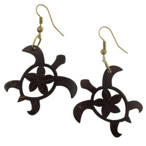Beautiful Turtle Shape Coconut Carved Earrings with Plumeria Flower in Center - Brown - 1.25'' Length