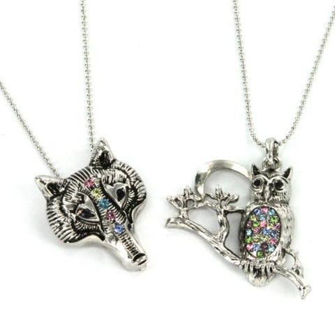 "Coyote and Owl Pendants in Multicolor Gems with 16 to 18"" Ball Chain Necklace - Set of 2 Pendants"