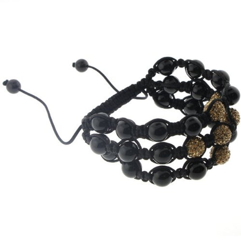 Gold Color Rhinestone and Black Stone Three-Row Macrame Bracelet - 10mm Beads