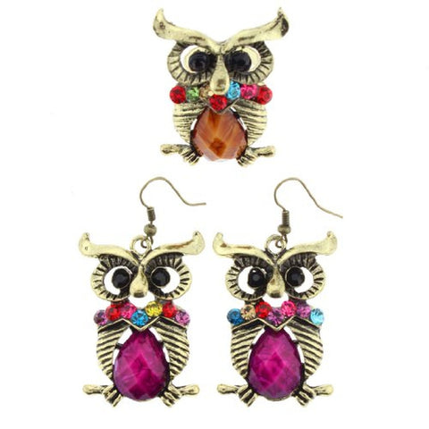Gold Tone Owl Design Dangle Earrings and Ring Set in Purple and Orange Color with Multicolor Faceted Rhinestones - Ring Size is Adjustable -