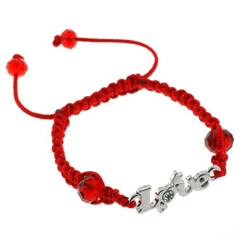 Love Charm in Cubic Zirconia Macrame Adjustable Bracelet with 10mm Faceted Rondell Red Crystal Beads