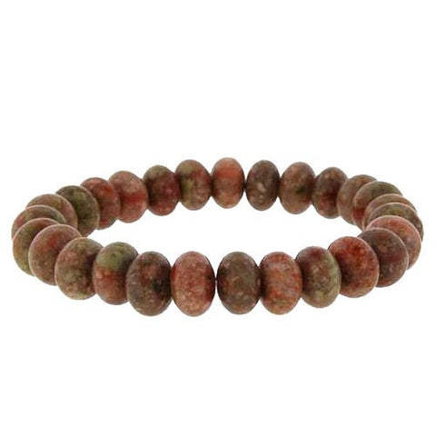 10mm Rondell Stretch Bracelet - Autumn Jasper