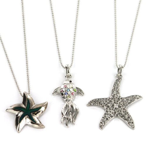 Fish and Starfish Pendant with Multicolor Rhinestones