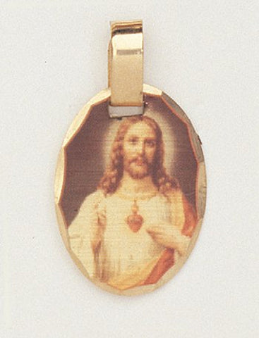 14 kt Gold Layered Medal - Sacred Heart of Jesus - Hand Made, Ready for Engraving, Individually Boxed