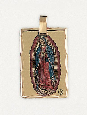 14 kt Gold Layered Religious Medal - Our Lady of Guadalupe - Hand Made, Ready for Engraving, Individually Boxed