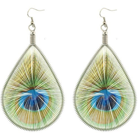 Peacock Design Woven Dangling Earrings - Approx. 50x65mm - Brilliant Colors