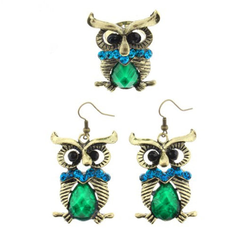 "Gold Tone Owl Design Dangle Earrings and Ring Set in Blue and Green Faceted Rhinestones - Ring Size is Adjustable - Earrings Approx. 2.5"" Ov"