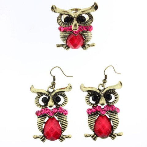 Owl Design Dangle Earrings and Ring Set in Pink Faceted Rhinestones - Ring Size is Adjustable - Earrings Approx. 2.5