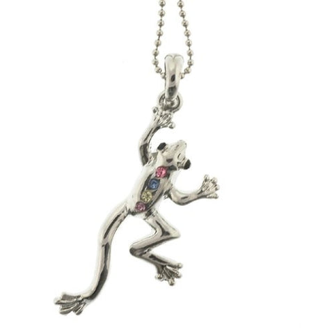 "Frog Pendant with 1.2mm Ball Chain 16 to 18"" Adjustable Necklace"