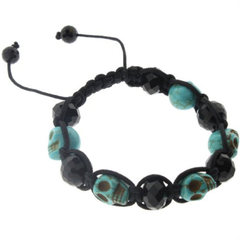 Blue Stone and Glass Bead Macrame Bracelet - Skull and Faceted Beads