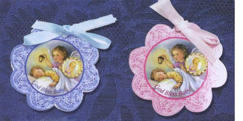Blue Crib Medallion with Ribbon