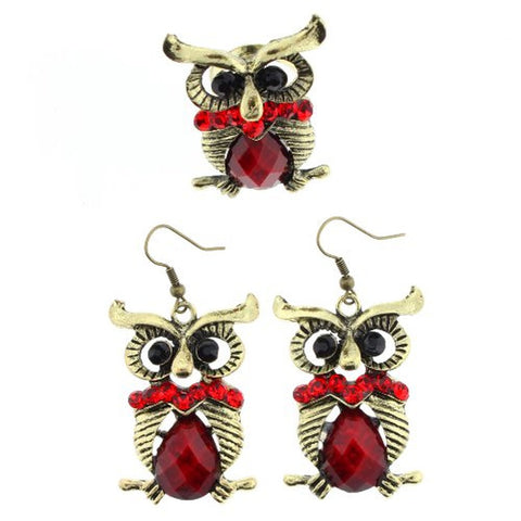 "Owl Design Dangle Earrings and Ring Set in Red Faceted Rhinestones - Ring Size is Adjustable - Earrings Approx. 2.5"" Overall Length"