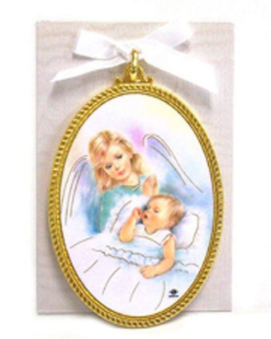 Crib Medallion with White Ribbon