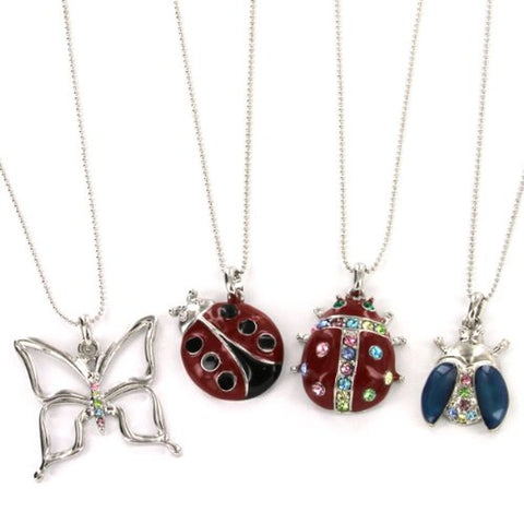 "Butterfly, Ladybug, and Beetle Pendant in Multicolor Gems with 16 to 18"" Ball Chain Necklace"