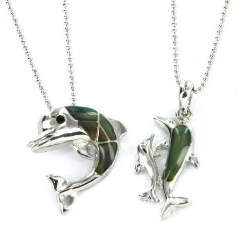 "Dolphin Mood Pendants with 16 to 18"" Ball Chain Necklace - Set of 2 Pendants"