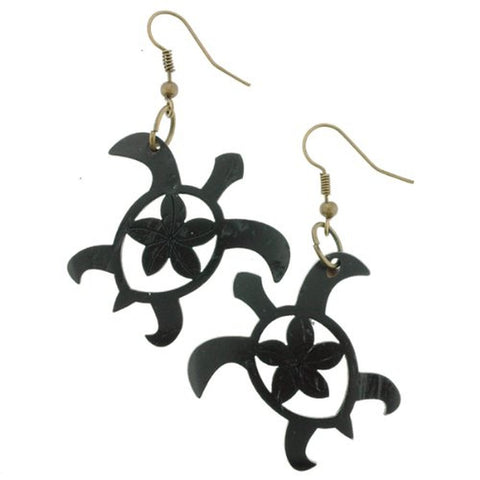 Beautiful Turtle Shape Coconut Carved Earrings with Plumeria Flower in Center - Black - 1.25'' Length