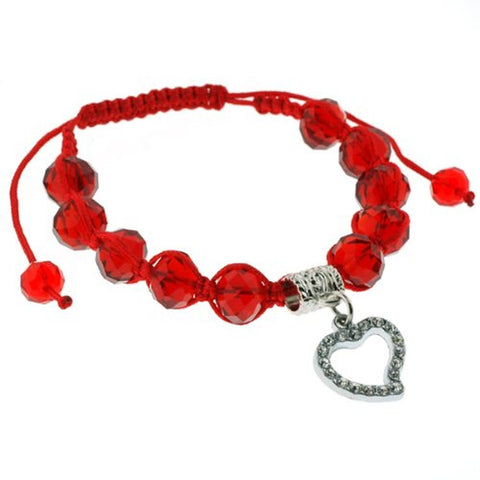 Heart Charm in Cubic Zirconia Macrame Adjustable Bracelet in 10mm Faceted Rondell Red Crystal Beads