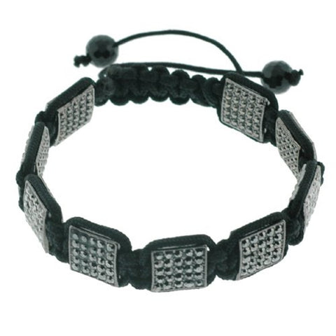 Black Macrame Bracelet with Silver Colored Rhinestones on Flat Square Metal Beads
