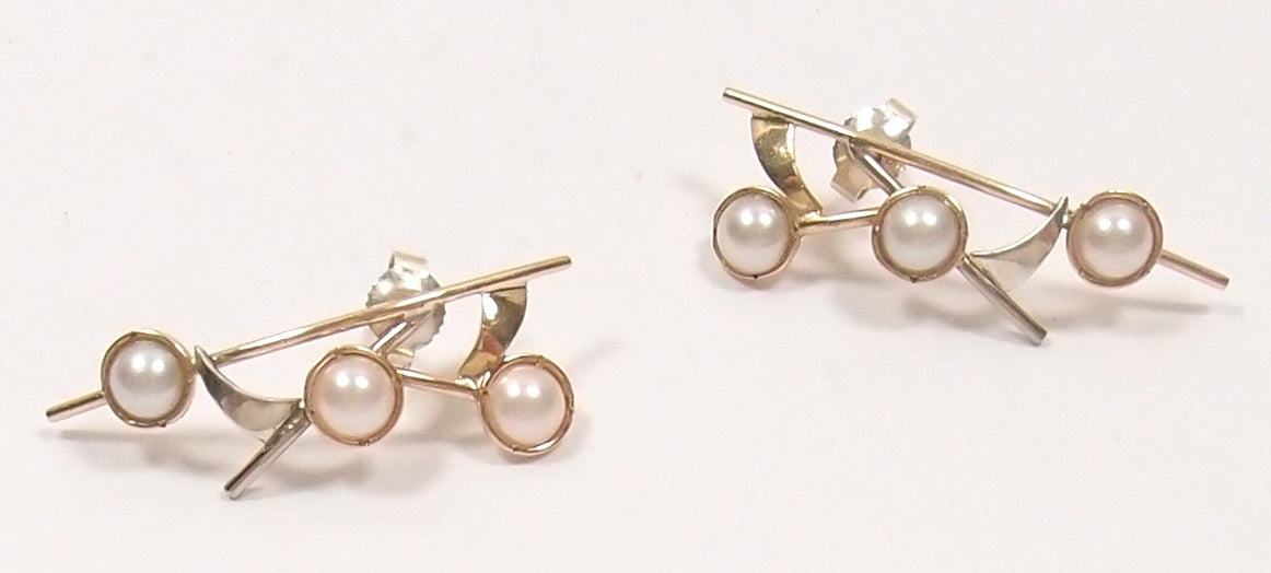 Pearl Earrings in Silver and Rose Gold: Pre-Adored