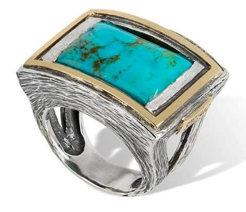 Turquoise, silver and gold ring by Gabriela Styliano