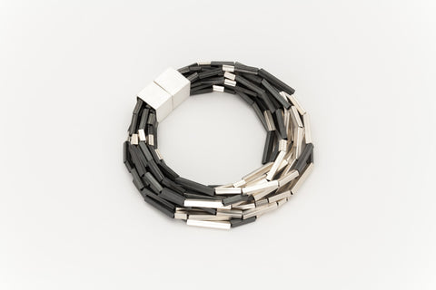 Silver and Oxidised Multi-Strand Bracelet: Deco Echo