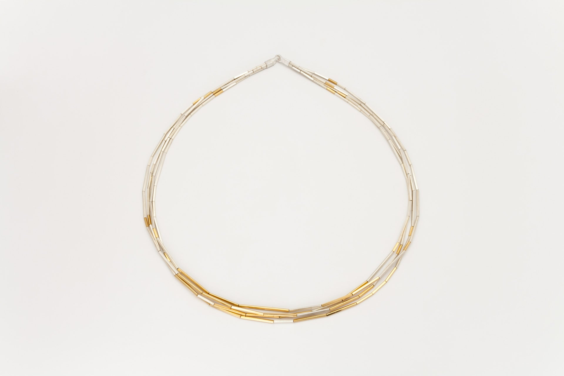 Sterling Silver and Golden 4 Strand Necklace: Deco Echo - Magpie.Kiwi