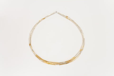 Silver and Gold-Plated 4 Strand Necklace: Deco Echo
