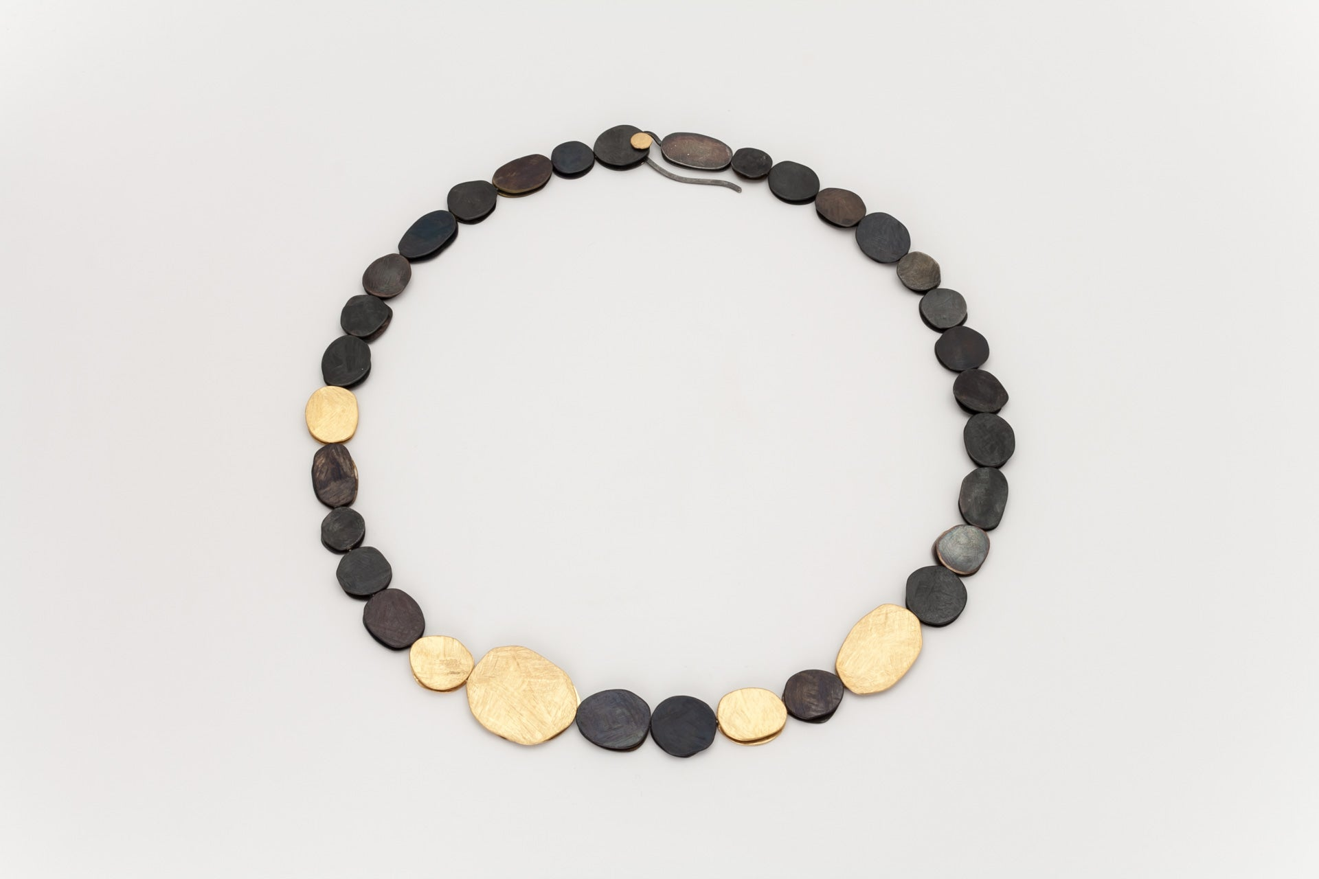 Black Oxidised and Golden Sterling Silver Disc Necklace: Deco Echo - Magpie.Kiwi
