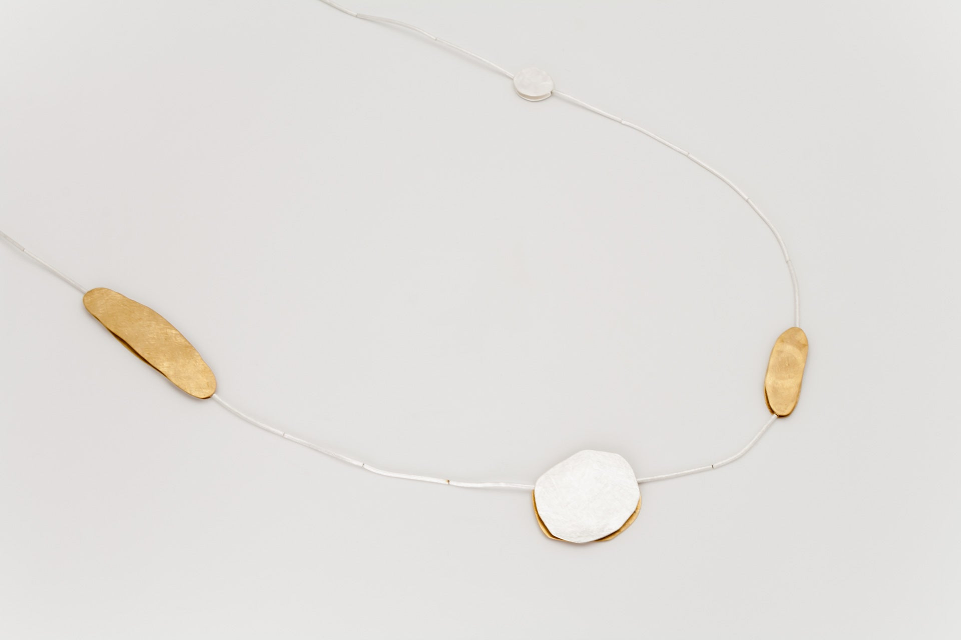 Long Sterling Silver and Golden Disc Necklace: Deco Echo - Magpie.Kiwi