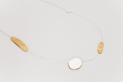 Long Silver and Gold-Plated Disc Necklace: Deco Echo