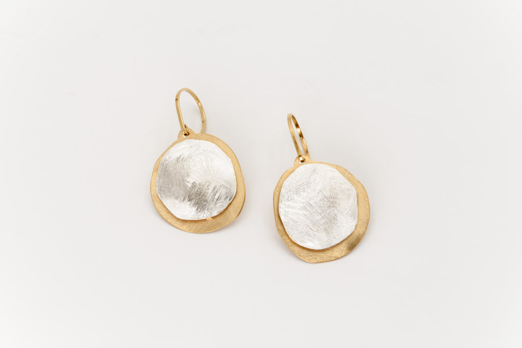Double Disc Sterling Silver and Golden Drop Earrings: Deco Echo - Magpie.Kiwi