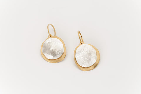 Double Disc Silver and Golden Drop Earrings: Deco Echo