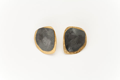 Black Oxidised and Golden Sterling Silver Ear Studs: Deco Echo - Magpie.Kiwi