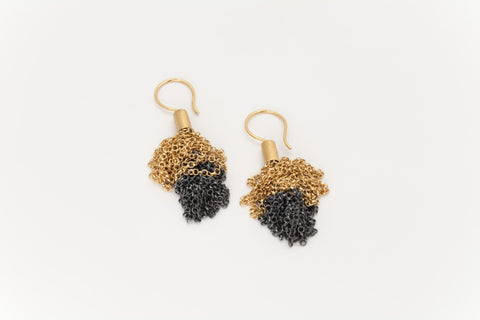 Black Oxidised and Golden Chain Earrings: Deco Echo