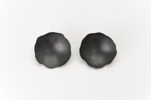 Black Oxidised Sterling Silver Concave Earrings: Deco Echo