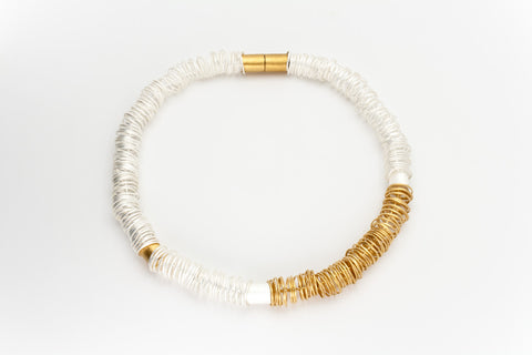 Sterling Silver and Golden Links Necklace: Deco Echo