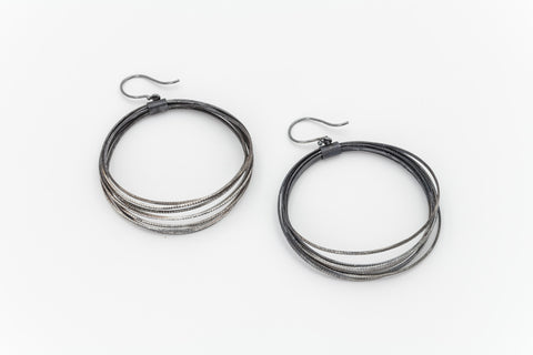 Black Oxidised Hoopla Earrings: Deco Echo