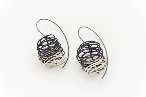 Sterling Silver Scribble Earrings with Black Oxidising: Deco Echo - Magpie.Kiwi